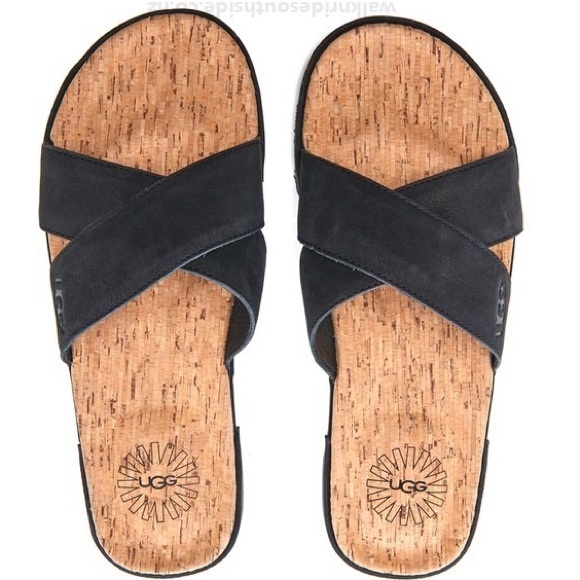 UGG Men's Ithan Cork Double Strap Leather Slides